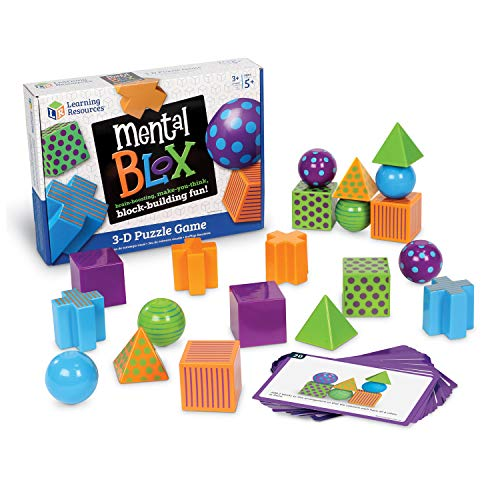 Learning Resources Mental Blox Critical Thinking Game Homeschool 20 Blocks 40 Activity Cards Ages 5Multicolor