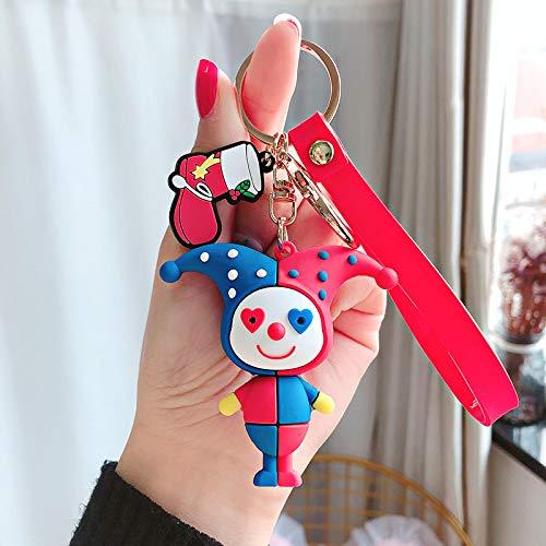 xinyawl Keychain Cute Cartoon Silicone Color Clown Keychain Female Doll Toy School Bag Pendant Keyring Couple Car Bag Charm Key Chain Gift red1