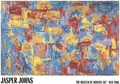 (48x68) Jasper Johns Map Art Huge Print Poster by Poster Revolution