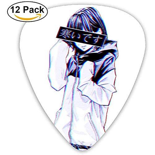 Sherly Yard 12 Pack Púas de guitarra personalizadas Estética japonesa variada Surtido de varios espesores para bajo