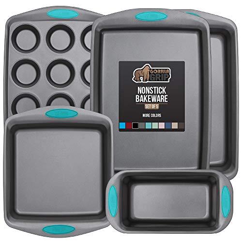 Gorilla Grip Original Kitchen Bakeware Sets, 5 Piece Baking Set, Silicone Handles, Includes 1 Large Size Cookie Sheet, 1 Roaster Pan, 1 Square Baking Pan, 1 Loaf Pan, One 12 Cup Muffin Pan, Turquoise