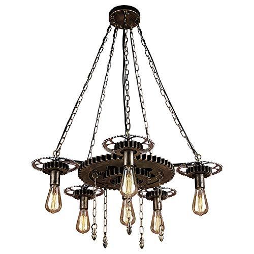 Kroonluchter hanglamp industrie Charmwood tandwiel hanglampen metalen ketting design kroonluchter vintage verschillende lichtbronnen ijzer, houten plafondlamp