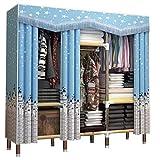 LYLY Armario de tela simple armario de almacenamiento de tubo de acero para colgar armario portátil, tela Oxford, armario de almacenamiento (color: B, tamaño: 128 x 45 x 172 cm)