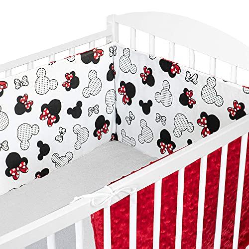 Cojin protector cuna 180 x 30 cm - chichonera bebe cuna Blanco con Ratones + Rojo Minky