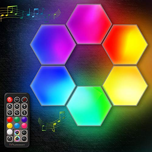 Lumoonosity LED Hexagon Lights - Dream Color Hexagon LED Light with RF Remote - Music Sync Color Changing Hexagon Wall Lights - RGB Hexagon Lights for Bedroom, Gaming Room - Cool Hexagon Light Panels