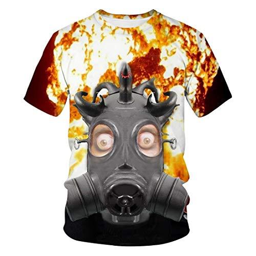 T-Shirt Herren Rundhalsausschnitt 3D Digital Gedruckt Kurzarm T-Shirt Casual Top