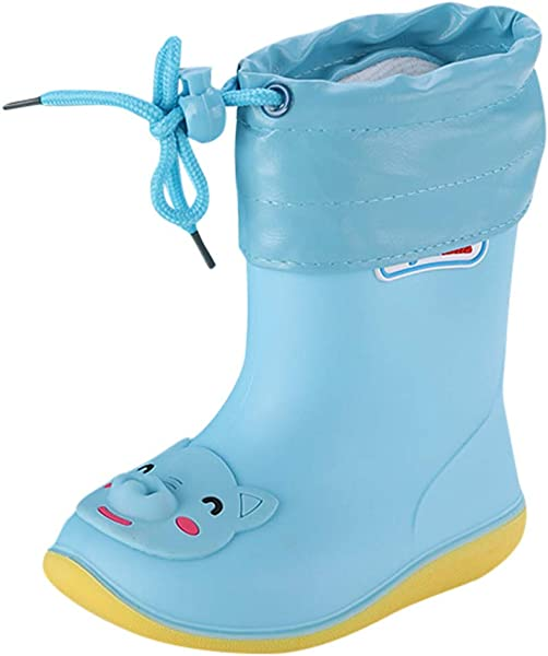 Kauneus Boys Girls Waterproof Non Slip Cartoon Rain Boots Fur Lining Winter Warm Water Shoes Toddler Little Kid Big Kid