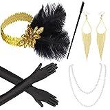 Beelittle 1920s Accessories Headband Earrings Necklace Gloves Expandable Cigarette Holder (E)