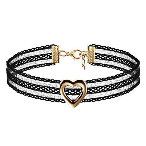 JewelryWe Schmuck Damen Choker Kette Kropfband Set schwarz mit Herz Anhänger Gold, Gothic Tattoo Stretch Samt Spitze Joker Halskette Halsband Lolita Sexy für Junge Frau und Mädel