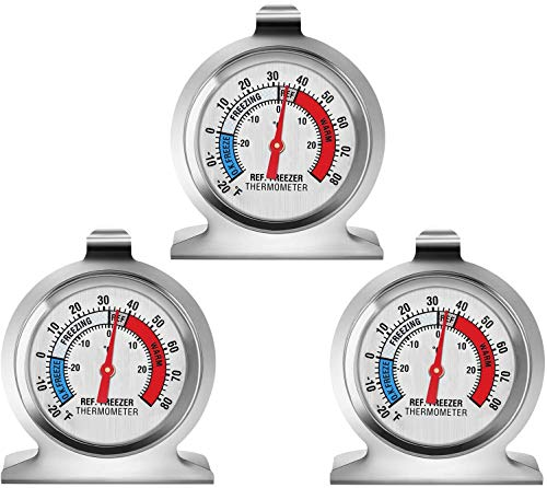 3-Pack Refrigerator Thermometer, Linkhood Large Dial Freezer Thermometer,Classic Series Temperature Thermometer for Refrigerator Freezer Fridge Cooler