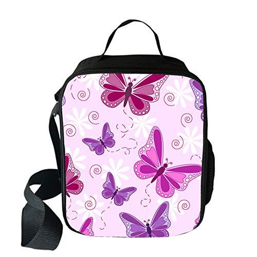 Bolsa de Almuerzo Aislada Bolsa Térmica para Niños Niñas, Surwin 3D Mariposa Bolsa Nevera Refrigerada con Correa Ajustable Hombre Mujer Escuela Oficina Picnic Bolsas (Púrpura,One Size)
