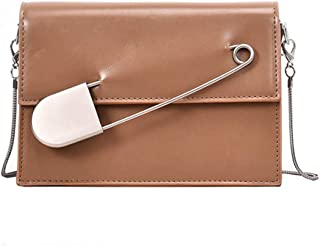 ZZZ Shoulder Bag Metal Pin Decoration Women Bag Chain Versatile Cross-body Trendy fashion (Color : Khaki)