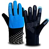 Winter Cycling Gloves for Men Women Waterproof Touchscreen Warm Fleece Thermal, Running Gloves Mens Reflective Lightweight Gel Padded Anti-Slip Lining for Skiing Riding Hiking Sports (Blue, L)