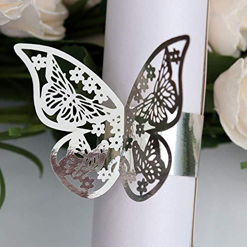 Huakaimaoyi Serviettenringe Schmetterling Stil Laser Cut Papierservietten Halter Hotel Hochzeit Gefälligkeiten Tischdekoration 50 Teile/Satz-Silber