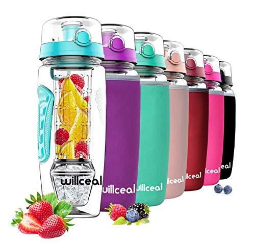 willceal Flacone di Frutta infusore 32 Once Resistente con Palla di Gel di Ghiaccio Staccabile, Grande - Tritan Senza BPA, Coperchio a Vibrazione, Design a Prova di perdite - Sport, Campeggio (Teal)