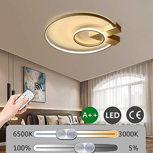 LED slaapkamer modern dimbare plafondlamp met afstandsbediening 38 W 2-ring design plafondlamp ultradun silicone lampenkap voor woonkamer hotel Villa verlichting Ø52cm