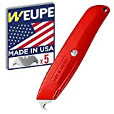 WEUPE Hook Blade Utility Knife with 5 Utility Hook Blades, Made in USA, Heavy-Duty Retractable Razor Knife Set with Comfort Grip, Shingle Cutter Roofing Knife, Quality Steel