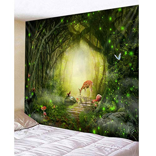 Dongbin Fototapete Tapete Wohnzimmer Schlafzimmer Büro Flur Dekoration Wandbilder Moderne Wanddeko - Grünen Wald Elch Eichhörnchen Hintergrund Dekor Tapete,Forest,Big