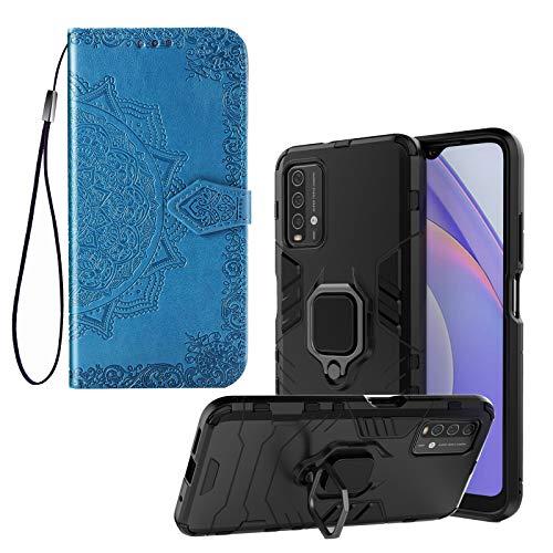 [2 Fundas] Funda para Xiaomi Poco M3 / Xiaomi Redmi 9T, Carcasa Antigolpes Protector Robusta Resistente Case Color Negro + Azul