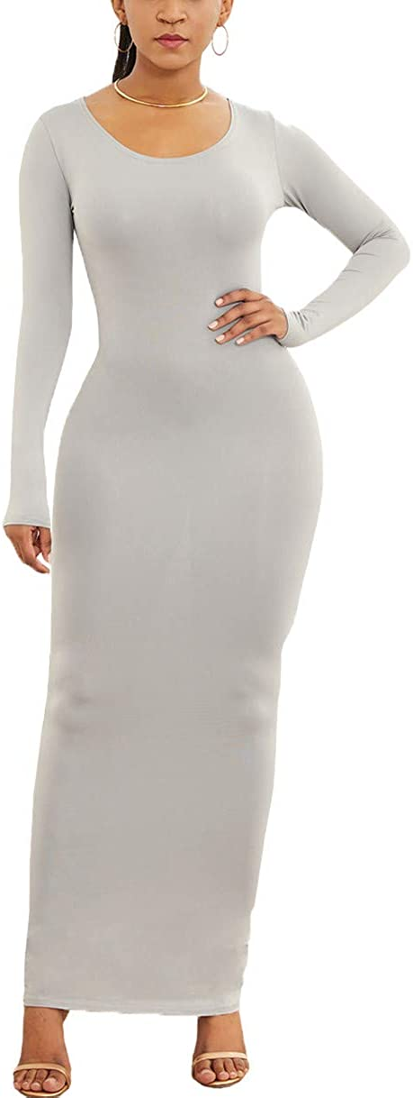 Shin Fashion Women Basic Solid Color M Lowest price challenge Tight Sleeve Max 53% OFF Long Bodycon