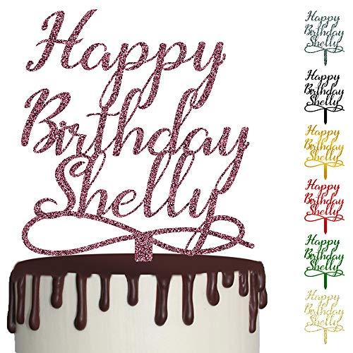!RAKRISA Personalized Happy Birthday Cake Topper   1 Pc 6x8 Inch Wooden Custom Happy Birthday Party Cake Decoration (D1)