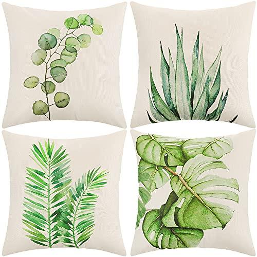 ARNTY Fundas Cojines 45x45 cm, Fundas de Cojines Modernas Juego de 4 Funda de Almohada Elegantes Decorativa para Sofá Coche Cama Sillas (Hoja Verde-Lino Algodón)