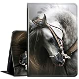 Galaxy Tab A 8.0 Case 2019 Tablet Model SM-T290/T295,AMOOK Multi-Angle Viewing Anti Slide Folio Stand Smart Cover Cases for Samsung Galaxy Tab A 8.0 Inch-White Horse