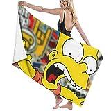 AllenPrint Toallas De Playa,Simpsons Toalla De Gran Tamaño, Toallas De Baño Decorativas para Mujer para Correr En El Gimnasio Deportivo,80x130cm