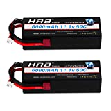 HRB 2pcs 3S Lipo Batería 11.1v 6000mAh 50C Estuche rígido Batería RC con Conector Deans Enchufe para RC 1/8 1/10 Escala Vehículos Coche Camiones Barcos