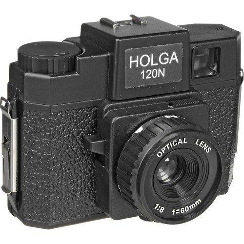 Holga Macchina fotografica, in plastica, misura media, con flash integrato e lente in vetro, nessuna, colore: nero