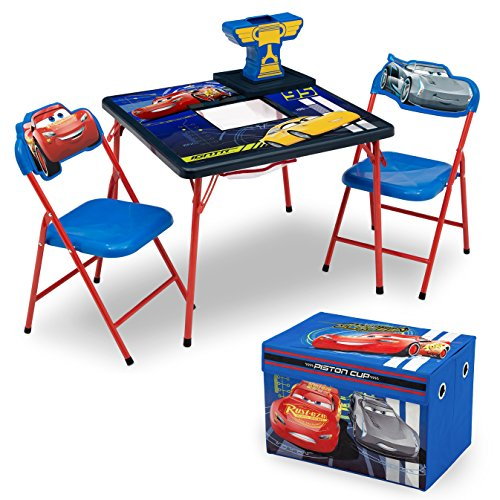 Delta Children 4-Piece Kids Furniture Set (Storage Table with 2 Chairs & Fabric Toy Box) - Ideal for Arts & Crafts, Snack Time, Homeschooling, Homework & More,Disney Pixar Cars