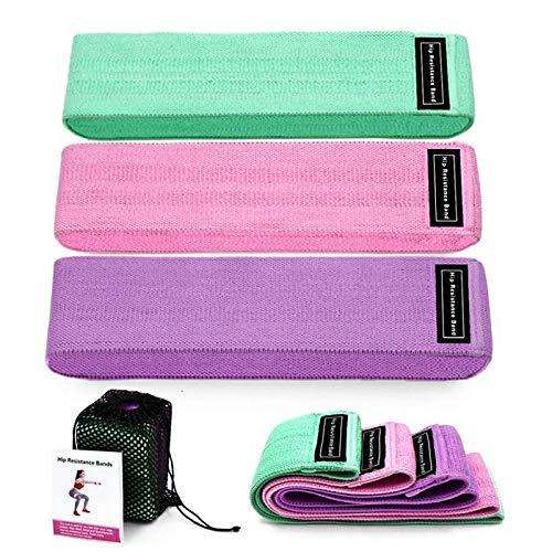 Bandas Elásticas Musculación para Fitness 3 Niveles, Resistencia Antideslizante para Piernas y Glúteos, Pilates, Yoga, Fuerza, Fisioterapia, Estiramientos. (Mezcla DE Colores)