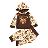 Baby Girl Thanksgiving Outfits Daddy and Mommy's Little Turkey Letter Print Hoodie Tops+Pants 2pcs Clothes (Brown-K,0-3 Months)