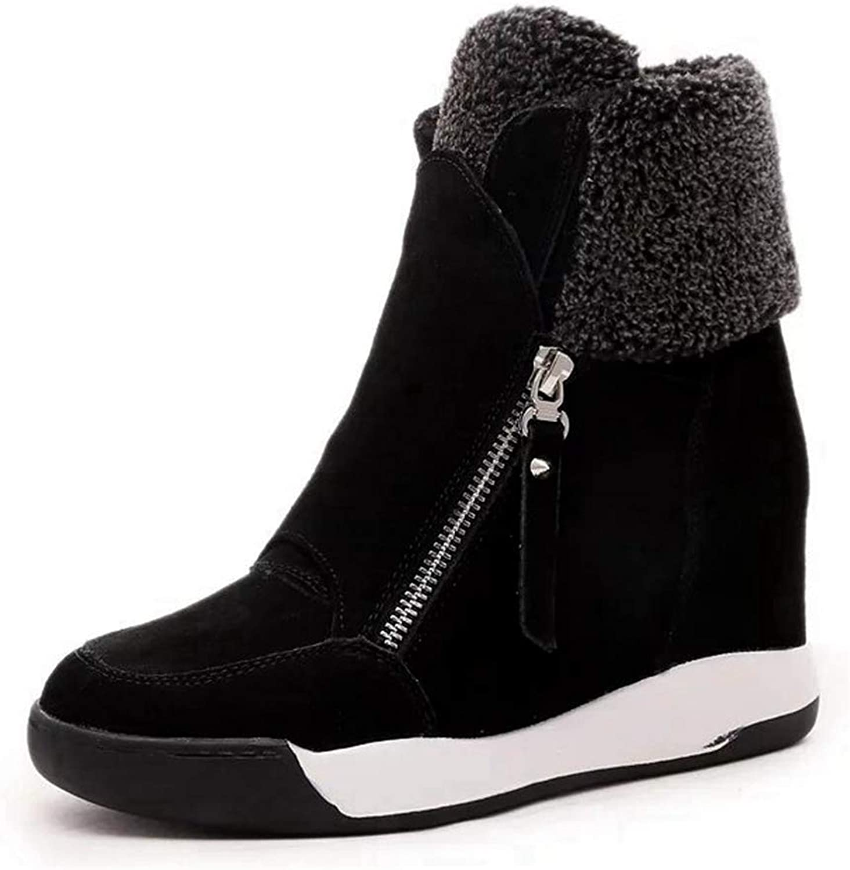 CYBLING Women Fur Lined Ankle Booties High Top Hidden Wedge Platform Winter shoes Outdoor Walking Sneakers