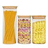 VIVILINEN Juego de frascos de vidrio con tapas de bambú, anillo de silicona, almacenamiento hermético de alimentos, 2000 ml, 1300 ml, juego de 3 frascos de almacenamiento