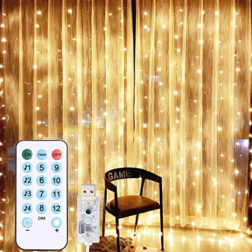 Tenda Luci, [3x3m,300 LED] Diyife Luci Per Tende,Natale Tenda Luci, Impermeabile IP64 Luci Per Tende con 4 Controlli Vocali & 8 Modalità Twinkle Per Natale,Decorazione Feste