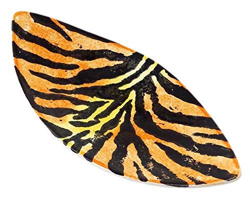 Lashuma Keramikschüssel bunt Motiv: Tiger, Ovaler Dessertteller 28x13 cm, Flache Servierschale