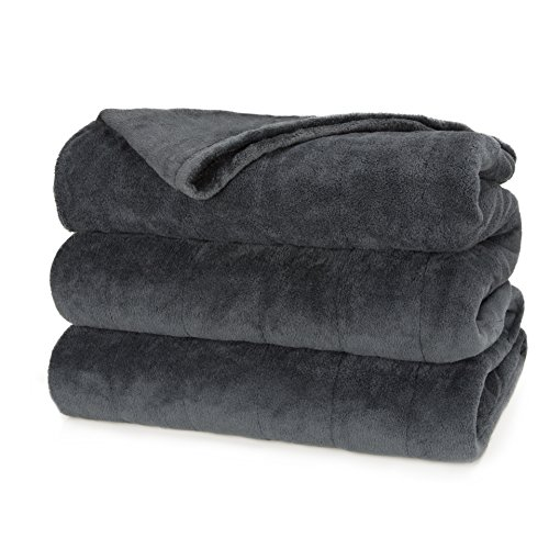 Sunbeam Heated Blanket | Microplush, 10 Heat Settings, Slate, Queen - BSM9KQS-R825-16A00