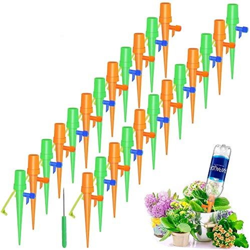 24 Pcs Riego por Goteo Automático Kit, Ajustable Piezas Riego por Ggoteo Spike Sistema de Irrigación para Jardín Bonsáis y Flores, Ideal Dispositivo de Irrigación Automático en Vacaciones