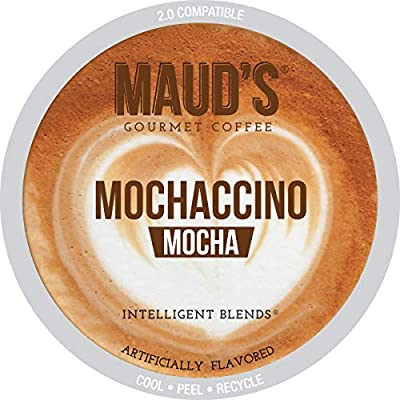 Maud's Dark Chocolate Mocha Cappuccino Dark Roast Espresso Coffee (Mochaccino), 50ct. Recyclable Single Serve Dark Roast Espresso Chocolate Mocha Flavored Coffee Pods – 100% Arabica Coffee California Roasted, Keurig Mocha Cappuccino K Cups Compatible