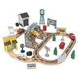 KidKraft 18015 Disney Pixar Cars 3 Thomasville Autorennbahn aus Holz mit 53 Bausteinen, Spielzeugautos und Zubehör für Kinder