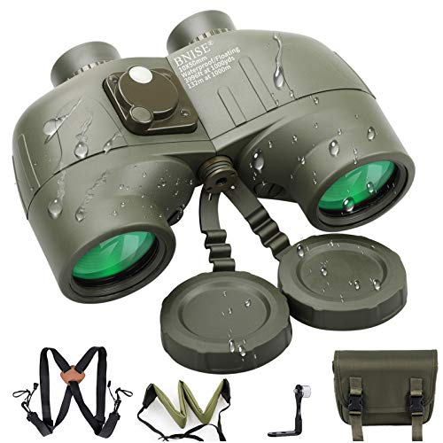 BNISE Fernglas für Erwachsene, 10 x 50, für Marine-Jagd, Entfernungsmesser, eingebauter Kompass mit Gurt, professionell, wasserdicht, Fernrohr BAK4 Porroprisma
