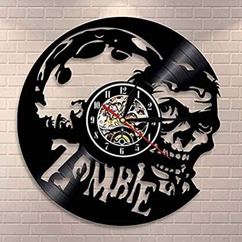 XYLLYT Zombie Reloj de Pared de Vinilo Reloj de Pared de Terror Zombie Art Infection Reloj de Pared de Vinilo Vintage Reloj de Pared Zombie Brain Head Decoración de Pared de Halloween
