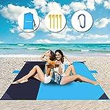 Alfombra de Playa 210x200cm Esterilla Playa ,Mantas para Pícnic con 2 Bolsas de Almacenamiento,4 Clavos Fijos ,para 3-4 Adultos, Impermeable y Resistente a la Arena