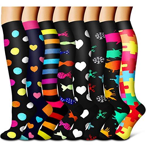 Compression Socks For Womenamp Men circulation8 PairsStockingsBest for RunningSportsHikingFlight travelPregnancy