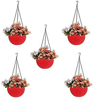 Round Gamla Pot Flower Hanging Round Rattan Woven Plastic Flower Hanging Basket Beautiful Pot for Garden Balcony (5 Pcs, RED)