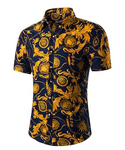 NiSeng Nuova Uomo Camicia a Maniche Corte Casual Slim Fit Stampa Shirt 2XL