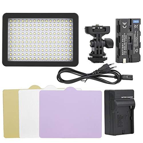 VBESTLIFE 5600K LED-videolamp traploos dimbaar, 3-kleurige zachte folie TLCI85 vullamp van kunststof met accu NF-F570, oplader, adapter, kleine kop, EU.