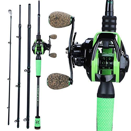 XUSHI Combinazione di Canna da Pesca da Pesca in Fusione a 4 sezioni Combinazione di Pesca da Pesca da Pesca da Pesca da Pesca Ultra-Leggera 2.1m 2.4m (Bundles : 2.4m And Right Hand)