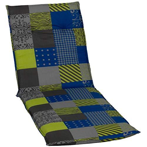 beo Chaises col roulé Coussin avec Bordure pour Chaise Longue à roulettes Design Patchwork, Env. 190 x 58 x 6 cm Bleu/Vert/Gris/Multicolore